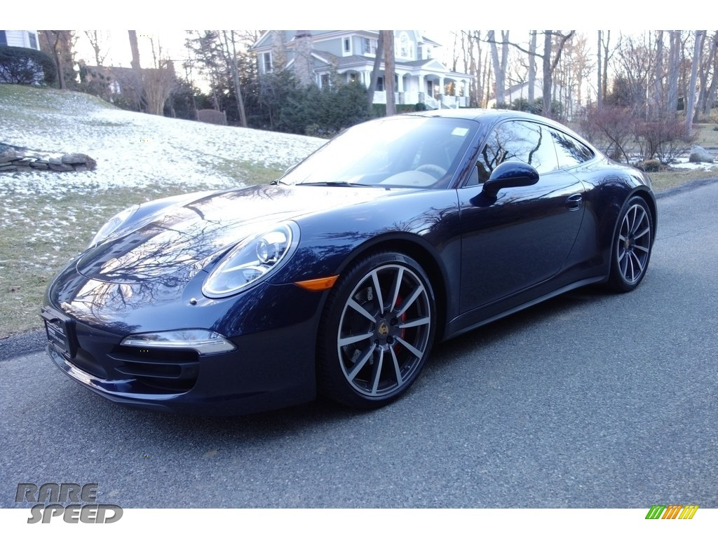 2013 911 Carrera 4S Coupe - Dark Blue Metallic / Luxor Beige photo #1