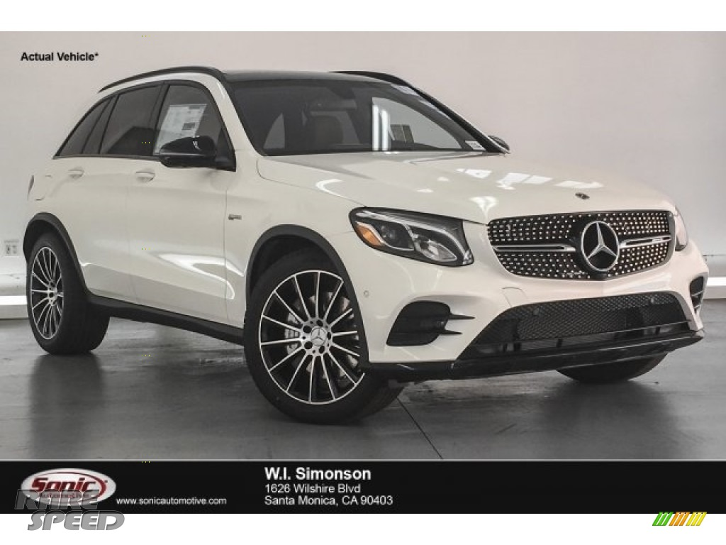 2018 GLC AMG 43 4Matic - designo Diamond White Metallic / Saddle Brown/Black photo #1