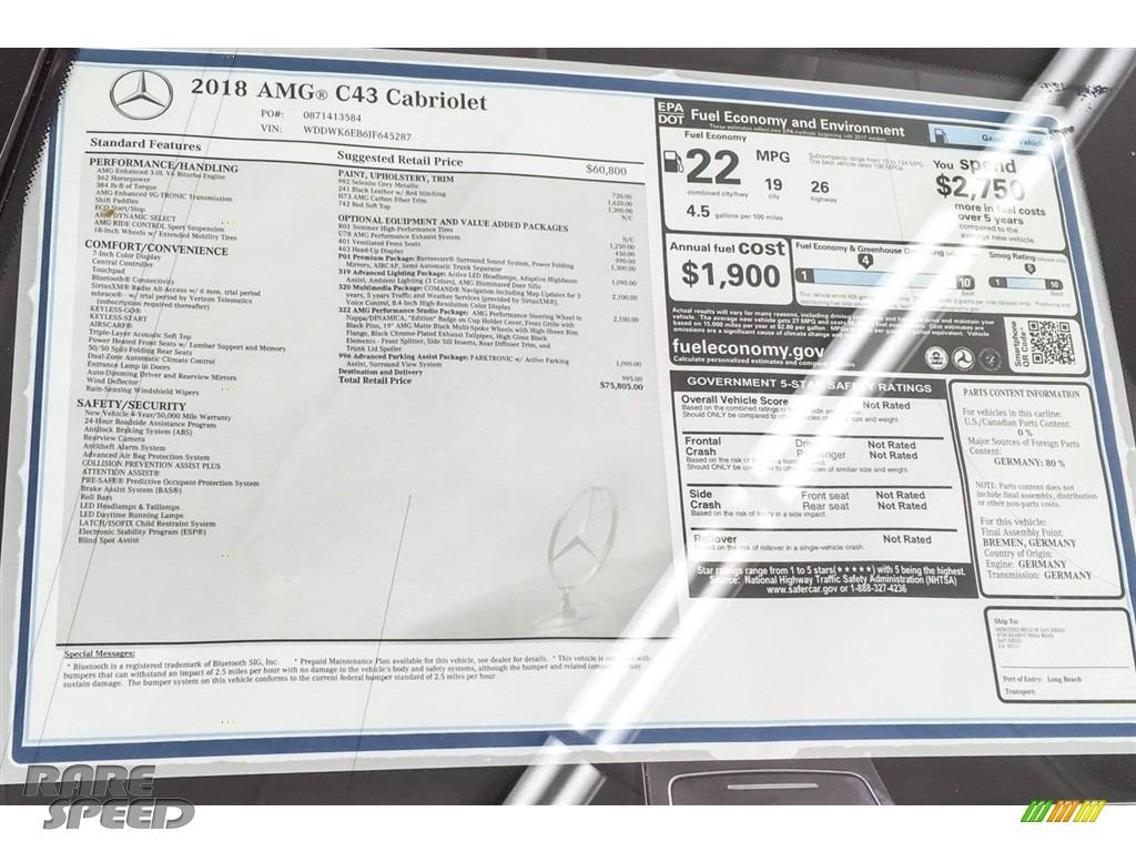 2018 C 43 AMG 4Matic Cabriolet - Selenite Grey Metallic / Black photo #26
