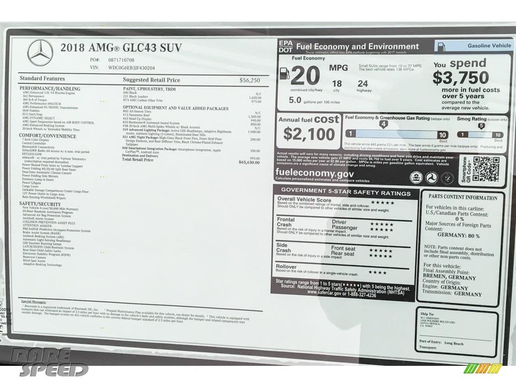 2018 GLC AMG 43 4Matic - Black / Black photo #26