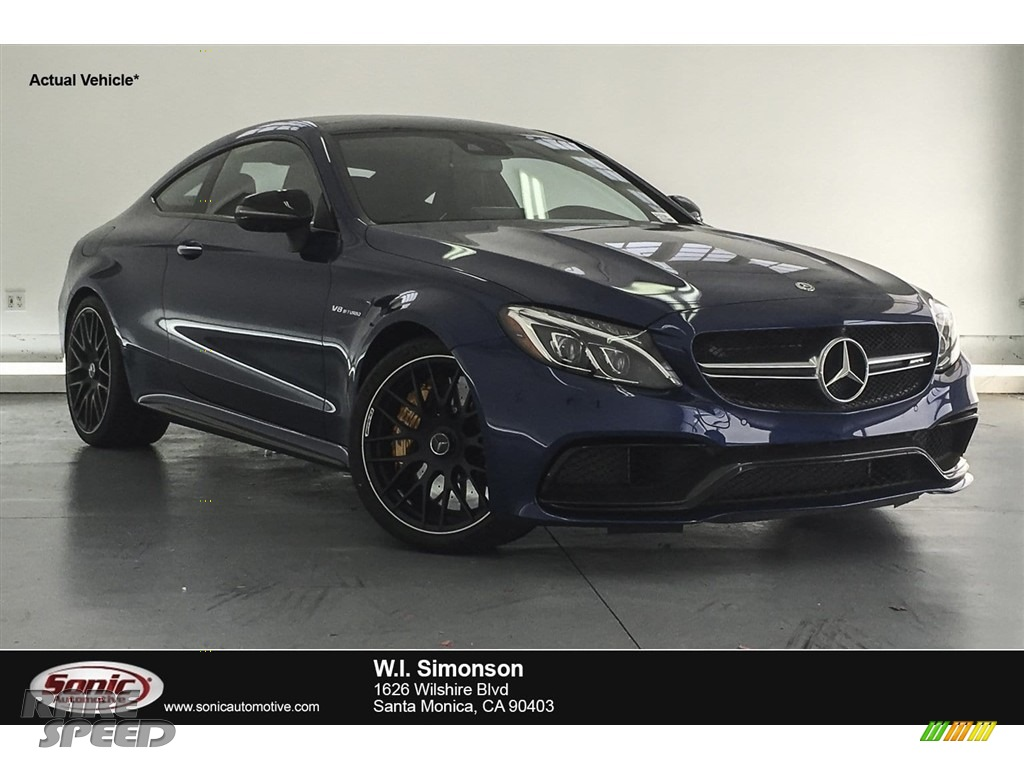 2018 C 63 S AMG Coupe - Brilliant Blue Metallic / Platinum White Pearl/Black photo #1