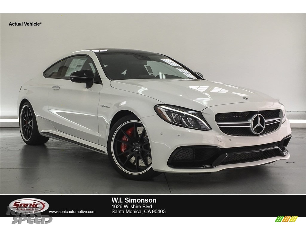 2018 C 63 S AMG Coupe - Polar White / Red Pepper/Black photo #1
