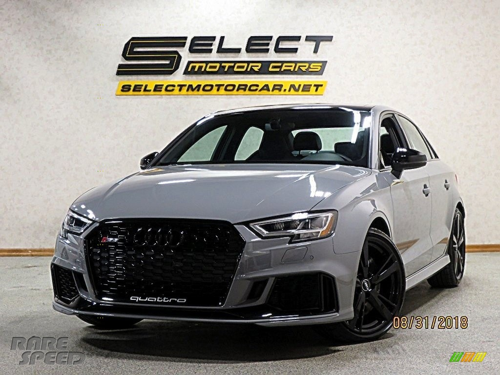 Nardo Gray / Black/Crescendo Red Audi RS 3 quattro Sedan