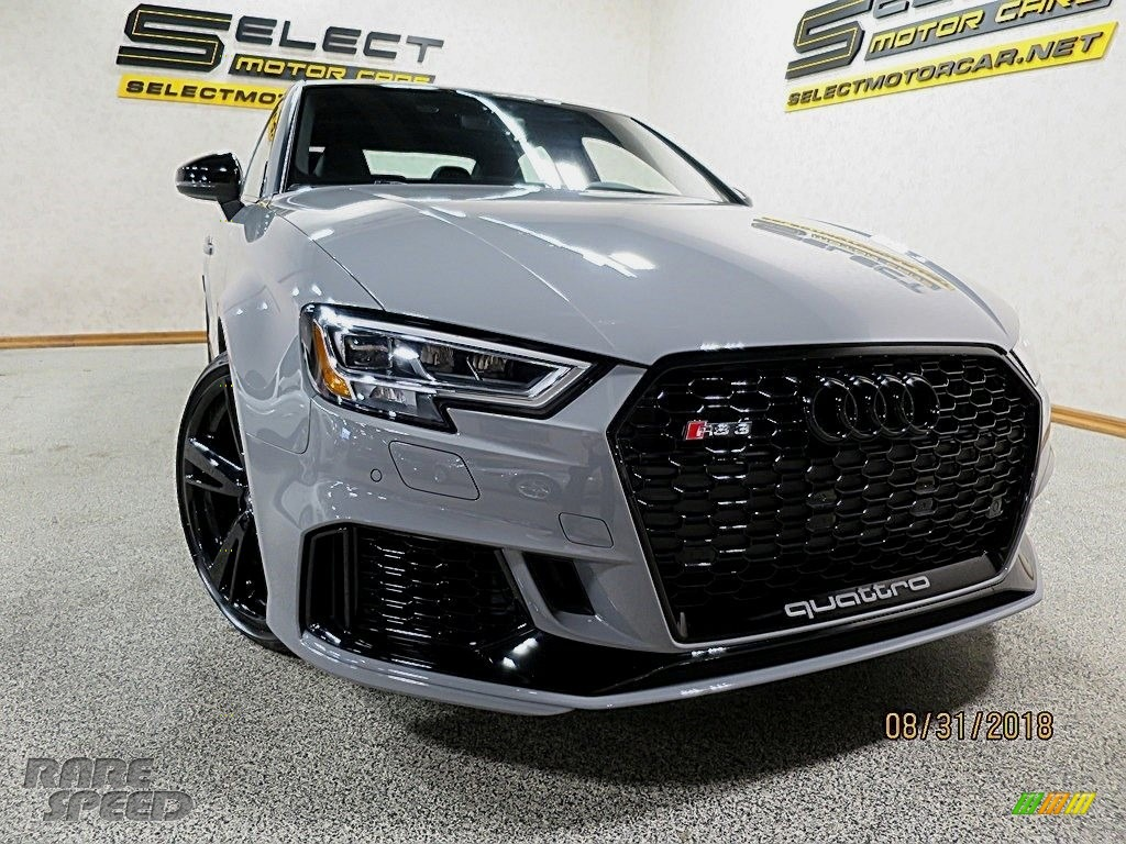 2018 RS 3 quattro Sedan - Nardo Gray / Black/Crescendo Red photo #11