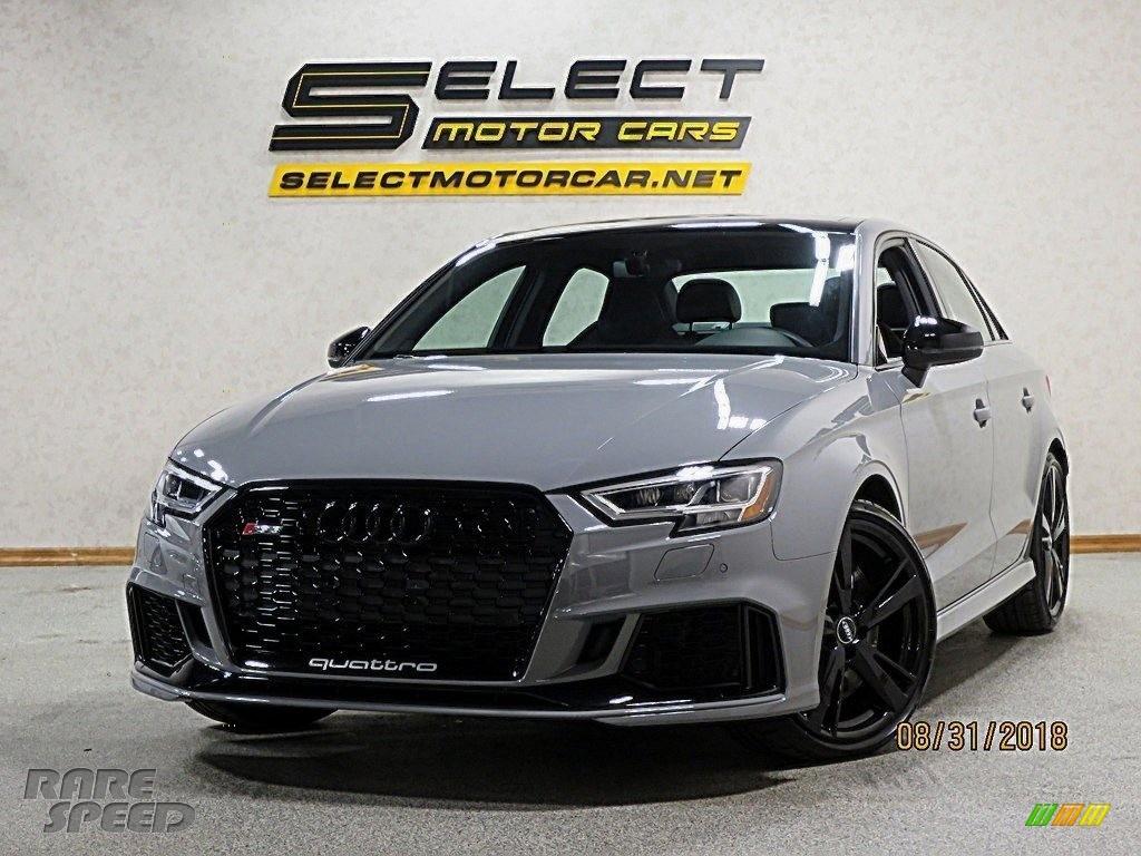 2018 RS 3 quattro Sedan - Nardo Gray / Black/Crescendo Red photo #12