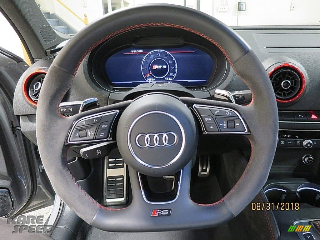 2018 RS 3 quattro Sedan - Nardo Gray / Black/Crescendo Red photo #28