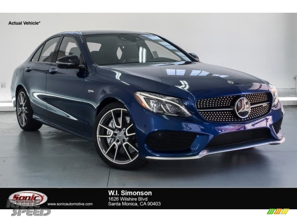 2018 C 43 AMG 4Matic Sedan - Brilliant Blue Metallic / Platinum White Pearl/Black photo #1