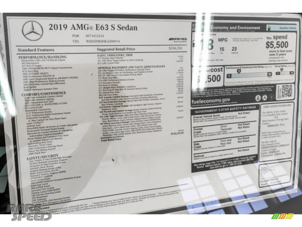 2019 E AMG 63 S 4Matic Sedan - Obsidian Black Metallic / Black photo #10