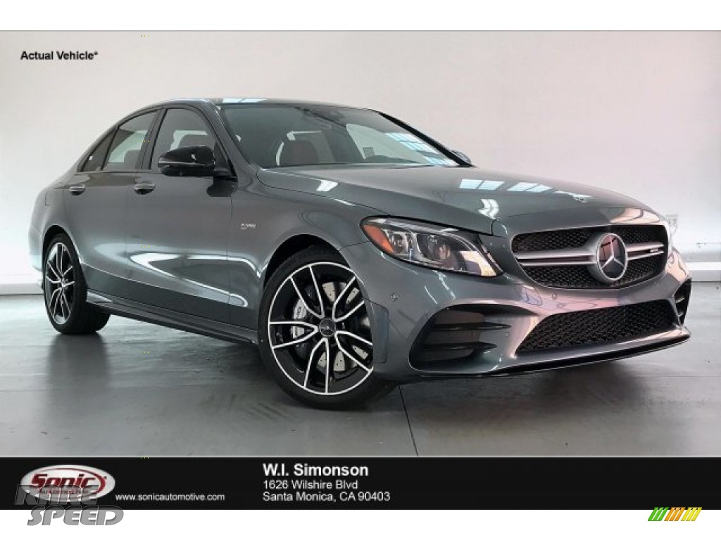 2020 C AMG 43 4Matic Sedan - Selenite Grey Metallic / Cranberry Red/Black photo #1
