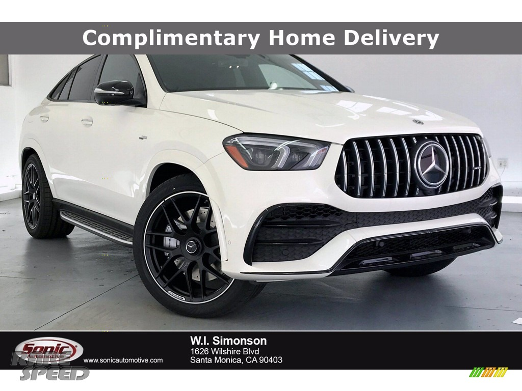 2021 GLE 53 AMG 4Matic Coupe - designo Diamond White Metallic / Tartufo/Black photo #1