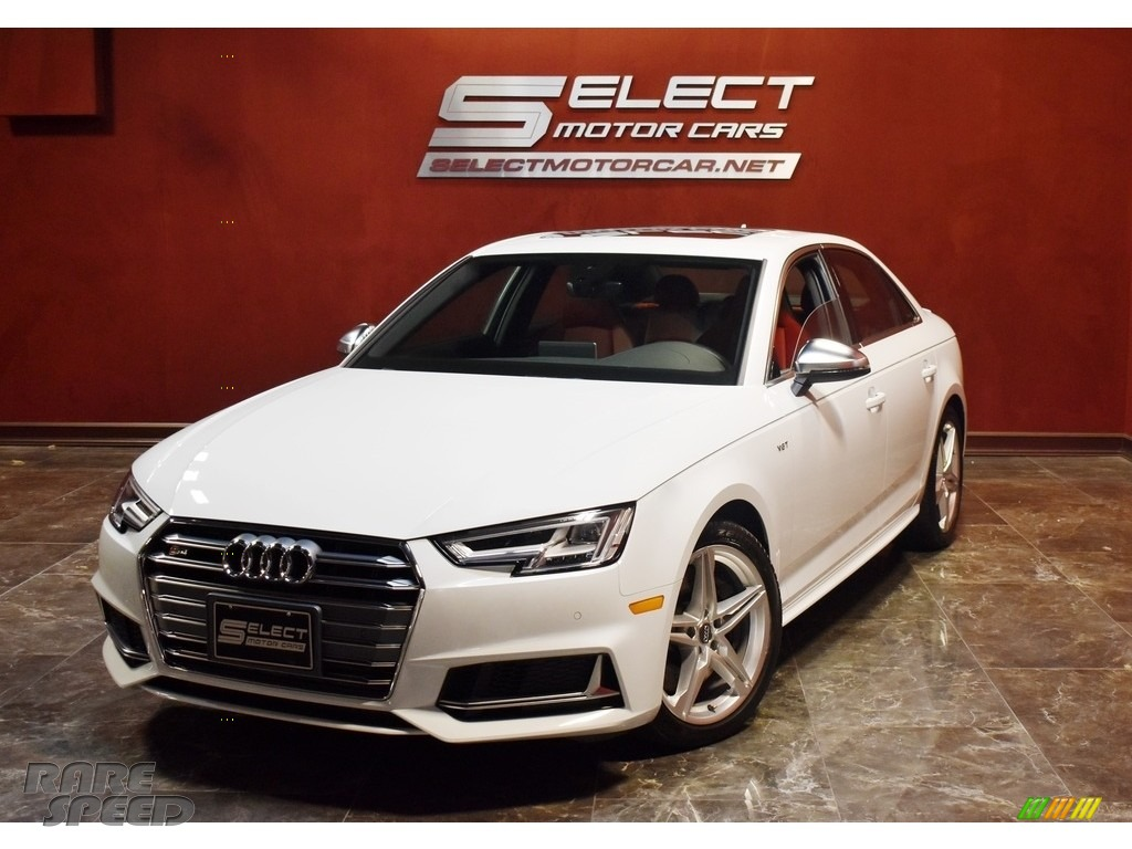 Glacier White Metallic / Magma Red Audi S4 Premium Plus quattro Sedan
