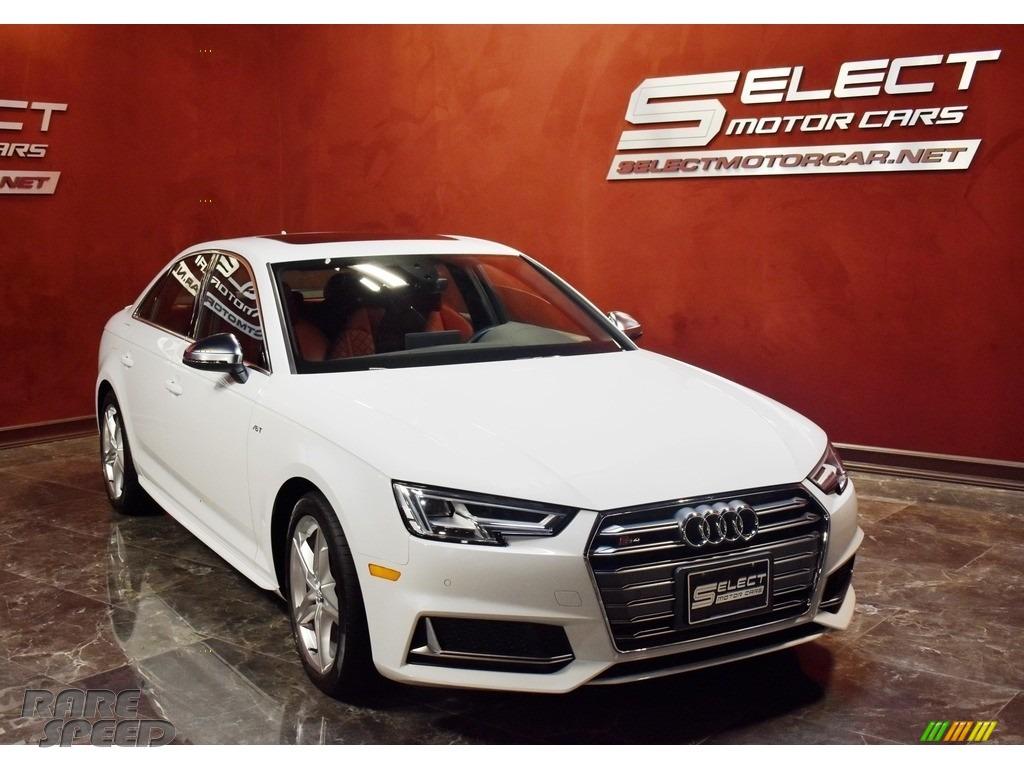 2018 S4 Premium Plus quattro Sedan - Glacier White Metallic / Magma Red photo #3