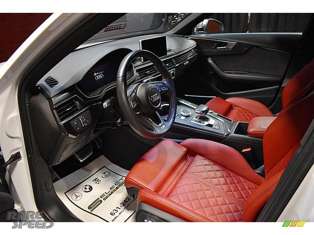 2018 S4 Premium Plus quattro Sedan - Glacier White Metallic / Magma Red photo #8