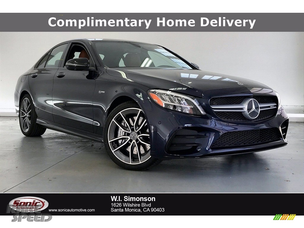 Lunar Blue Metallic / Saddle Brown/Black Mercedes-Benz C AMG 43 4Matic Sedan