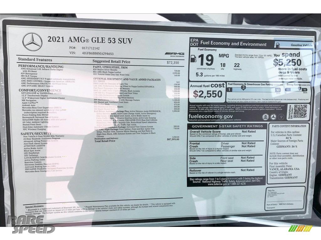 2021 GLE 53 AMG 4Matic - Mojave Silver Metallic / Black photo #10