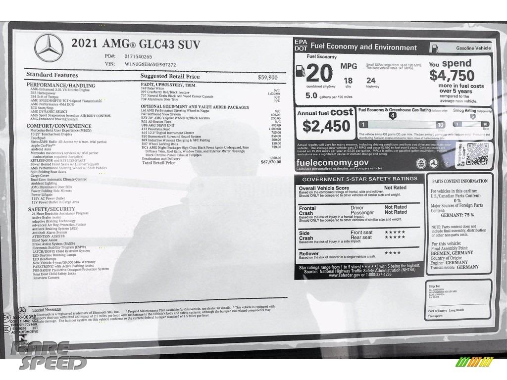 2021 GLC AMG 43 4Matic - Polar White / Cranberry Red/Black photo #10