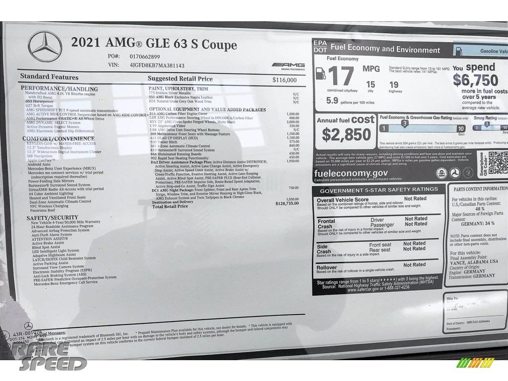 2021 GLE 63 S AMG 4Matic Coupe - Iridium Silver Metallic / Black photo #10